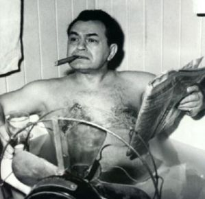 Edward G. Robinson smoking a Soylent Green-based cigar. Tastes a lot like chicken.